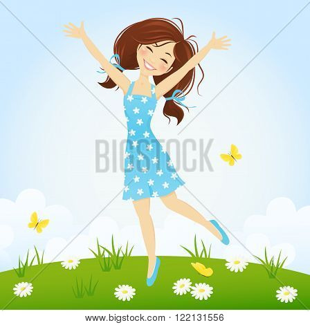 Cute smiling girl jumping in spring meadow