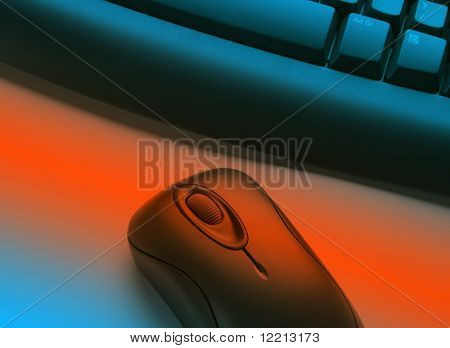 Wireless keyboard and mouse overlaid with blue and orange effect