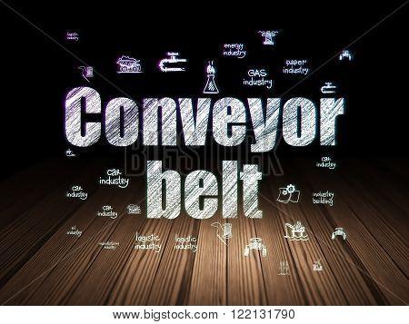Manufacuring concept: Conveyor Belt in grunge dark room