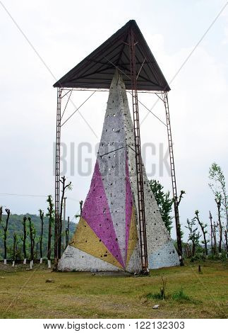 High climbing wall that look like a mountain in Pokhara Nepal
