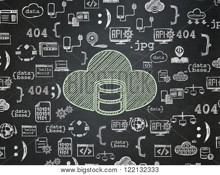 Database concept: Database With Cloud on School Board background