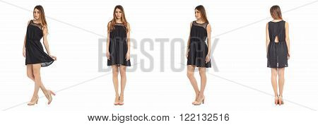 Pretty Woman n dress front, back, side view, isolated