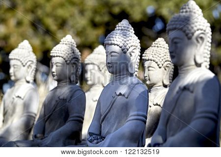 figures of buddha in quiet meditation pose figurines