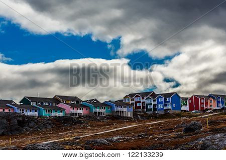 Modern colorful Inuit houses in Greenlandic capital Nuuk city