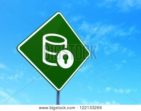 Programming concept: Database With Lock on road sign background