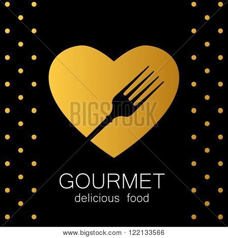 Gourmet logo. Delicious food. Golden Heart with silhouette of fork on black background. Lovely food logo template. Love Food logo. Template for restaurant, cafe, fast food, store food. Vector logo.