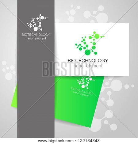 Biotechnology. Abstract molecule vector template. Nanotechnology development. Presentation of corporate identity for the medical industry, science, modern technologies.