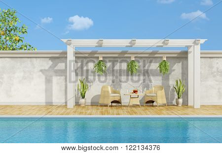 Holiday villa with pool chairs and table with breakfast under wooden gazebo- 3D Rendering