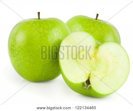 Green apple fruits and half of apple isolated on white background