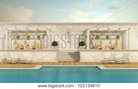 Luxury resort with pool ,gazebo and garden furniture - 3D Rendering