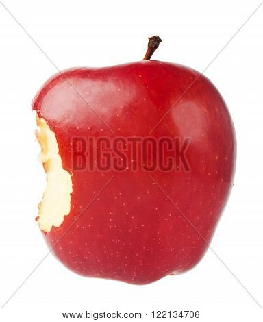 Bitten red ripe apple close-up on a white background