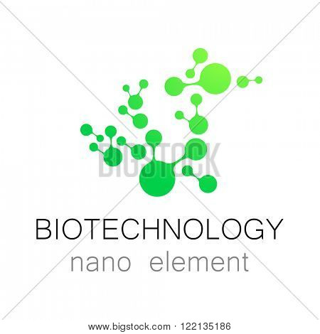 Nanotechnology. Biotechnology.  Abstract molecule vector logo template. Medical industry  identity.
