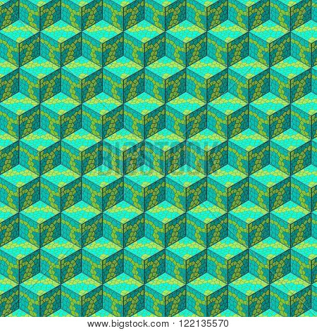 Organic cube isometric seamles pattern.  Vector illustration.