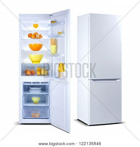 Two white refrigerators with open doors, fridge freezers isolated on white