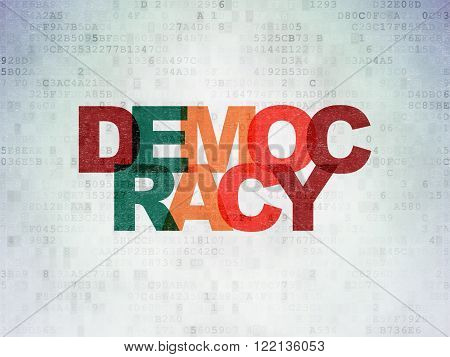 Politics concept: Democracy on Digital Paper background