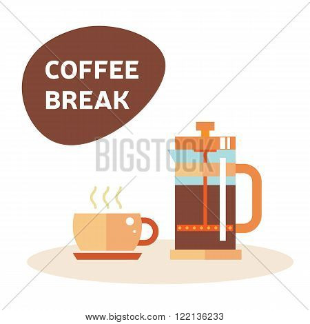 Coffe break. Tea time illustration: tea icon, coffee, cup, teapot. Purple tea party, morning, afternoon time. English tea and coffee and cake. Isolated symbol teapot and cup on white.