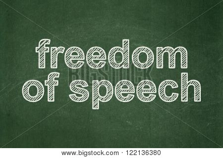 Political concept: Freedom Of Speech on chalkboard background