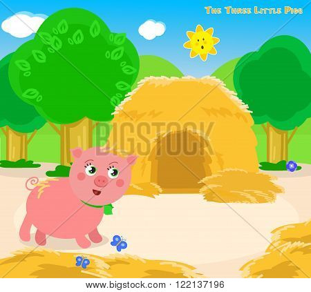 The first of the three little pigs builds a straw house. Vector for children.
