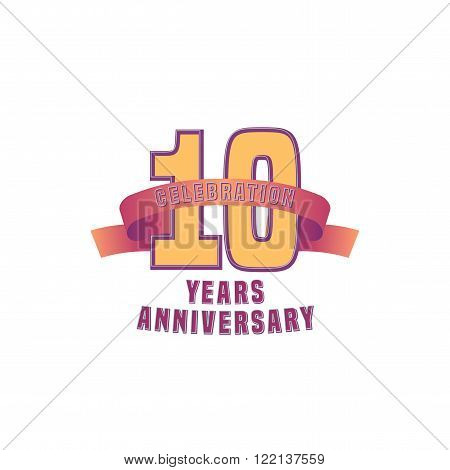 Vector design for ten years anniversary celebration