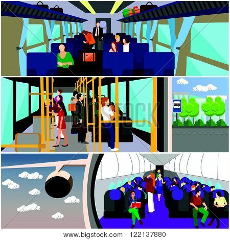 Passengers in public transport concept vector banners set. People in bus, train and airplane. Transport interior.