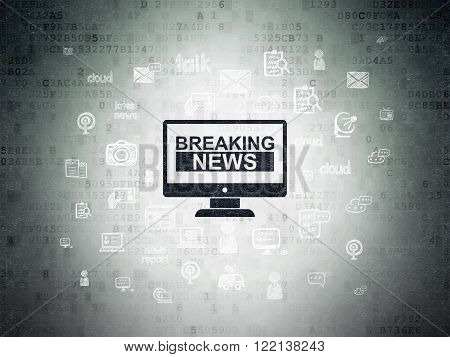 News concept: Breaking News On Screen on Digital Paper background