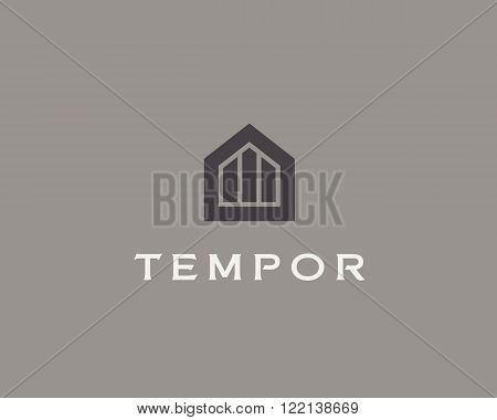 Abstract house logo design template. Premium real estate finance sign. Universal business foundation mount rock vector icon.