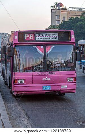 Havana, Cuba - April 2, 2012: City Bus In Front Of Capitolio