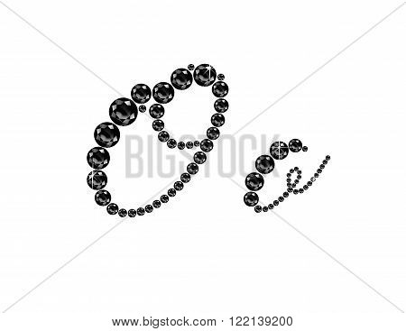 Oo in stunning Onyx Script precious round jewels isolated on white.