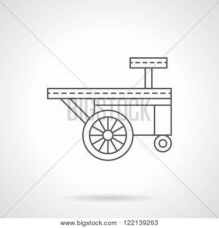 Ice cream trailer flat thin line vector icon