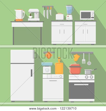 Flat vector kitchen with cooking tools, equipment and furniture. Refrigerator and microwave, toaster and cooker, blender illustration