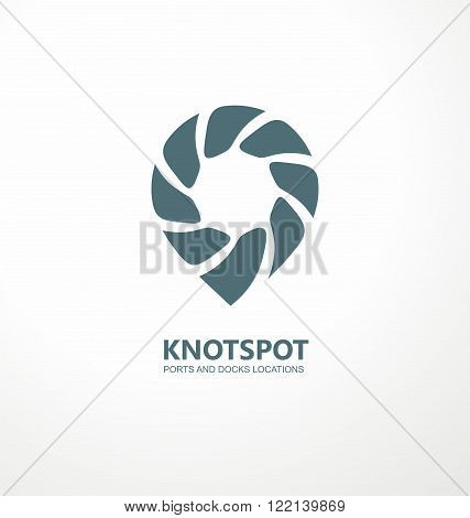 Ports and docks location guide creative symbol concept. Knot spot logo design idea. Logo inspiration with rope and spot mark. Sailing boats and ships theme. Pin icon. Global Positioning System theme.