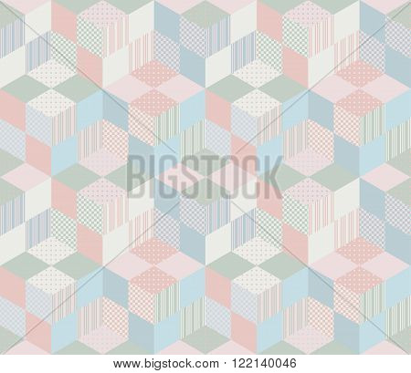Seamless geometric patchwork pattern in pastel tones. Vector illustration of quilt.