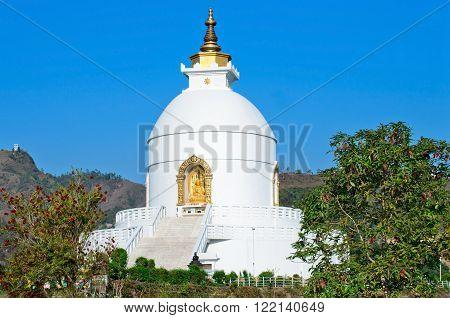 World Peace Pagoda Stupa in Pokhara, Nepal