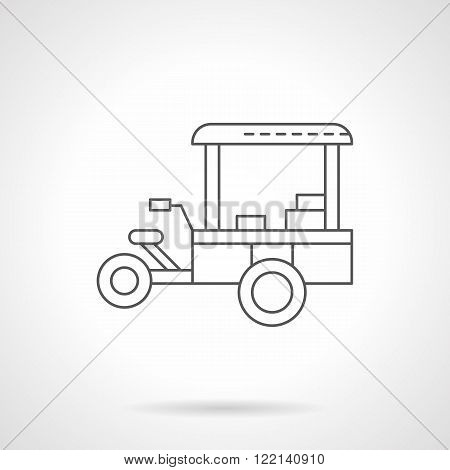 Coffee trailer flat thin line vector icon