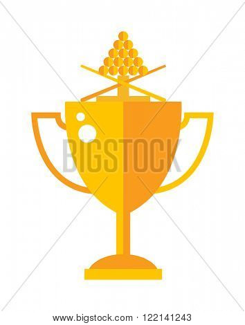 Vector winner gold award cup and champion golden award cup design symbol. Trophy gold award cup flat icon vector illustration.