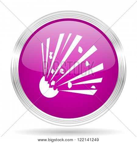 bomb pink modern web design glossy circle icon