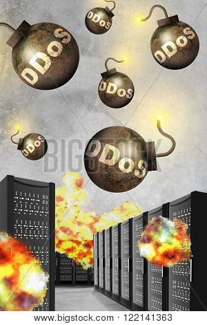 Bombs with fire falling on metal boxes, danger concept