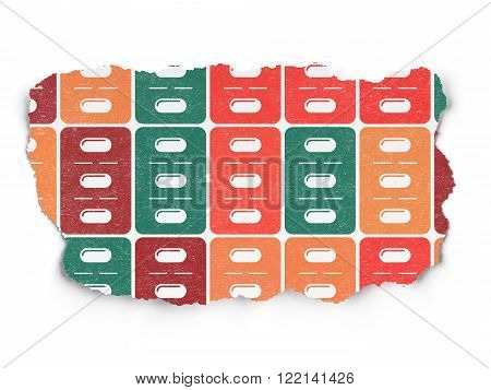 Medicine concept: Pills Blister icons on Torn Paper background