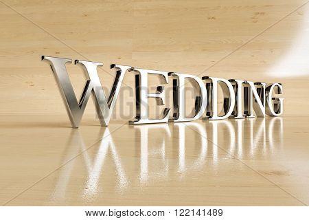 Wedding steel sign on wood background