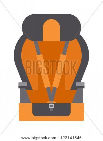 Safety baby seat travel tool and baby auto seat protector symbol vector icon. Baby car seats cartoon flat colored vector illustration.
