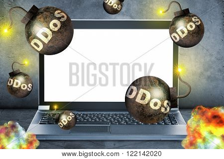 Bombs with fire falling on laptop, danger concept