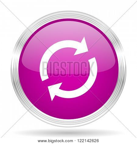 reload pink modern web design glossy circle icon