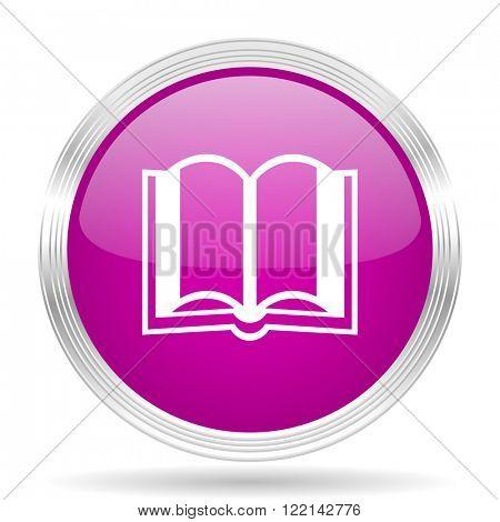 book pink modern web design glossy circle icon