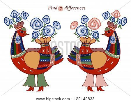 Find seven differences between two beautiful fairy birds. Cartoon vector illustration of education game for children.