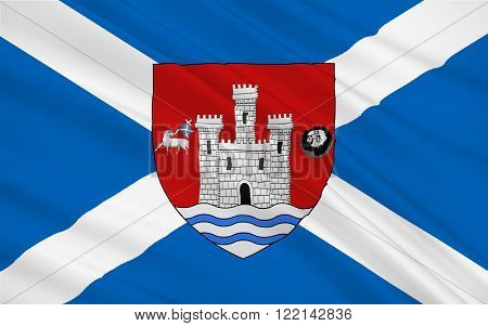 Flag of Ayr is a large town and former Royal Burgh sitting along the west coast of Ayrshire in Scotland.