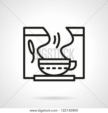 Healing herbal tea black line vector icon