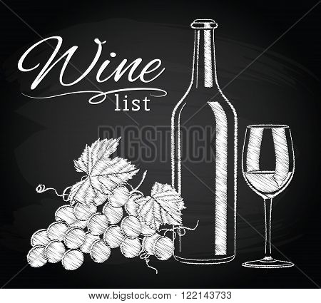 Vector illustration of vintage still life with a glass, a bottle of wine and grapes on the chalkboard background