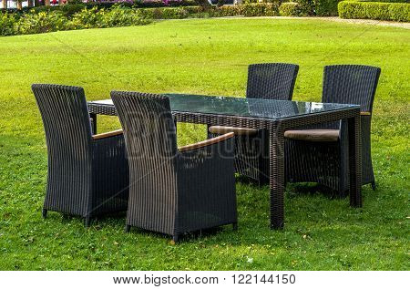 Rattan Furniture, Table And Chairs Outdoors