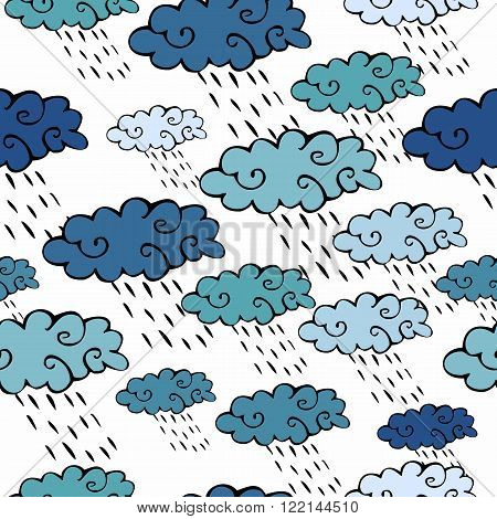 Vector seamless pattern with blue clouds and raindrops on white background.