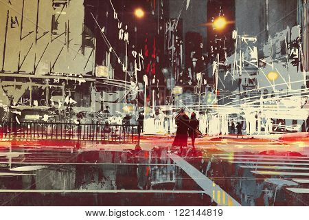 night scene of modern city street, illustration painting